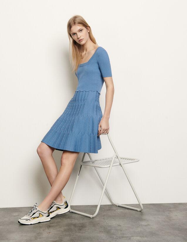Knit dress with square neckline : Dresses color Blue sky