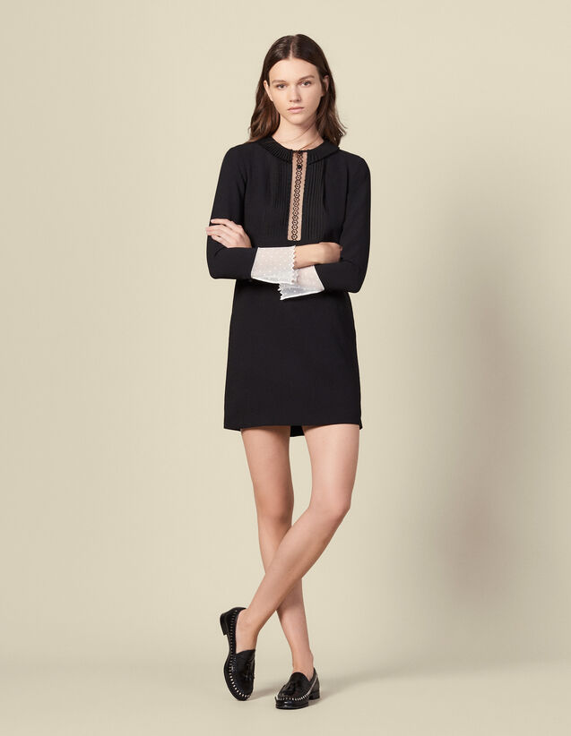 Long-Sleeved Short Dress : Copy of VP-FR-FSelection-Robes color Black