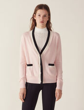 Fine Knit Collegiate Cardigan : FAnciennesCollections color Nude