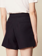High-Waisted Shorts With Ruffles : null color Navy Blue