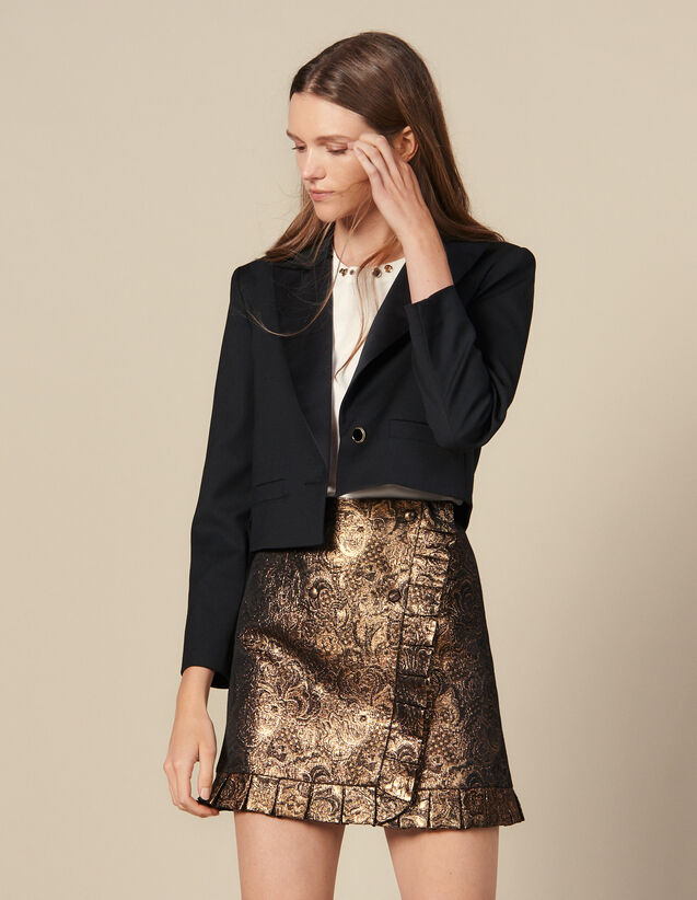 Wrapover Effect Brocade Skirt : Copy of VP-FR-FSelection-Jupes&Shorts color Gold