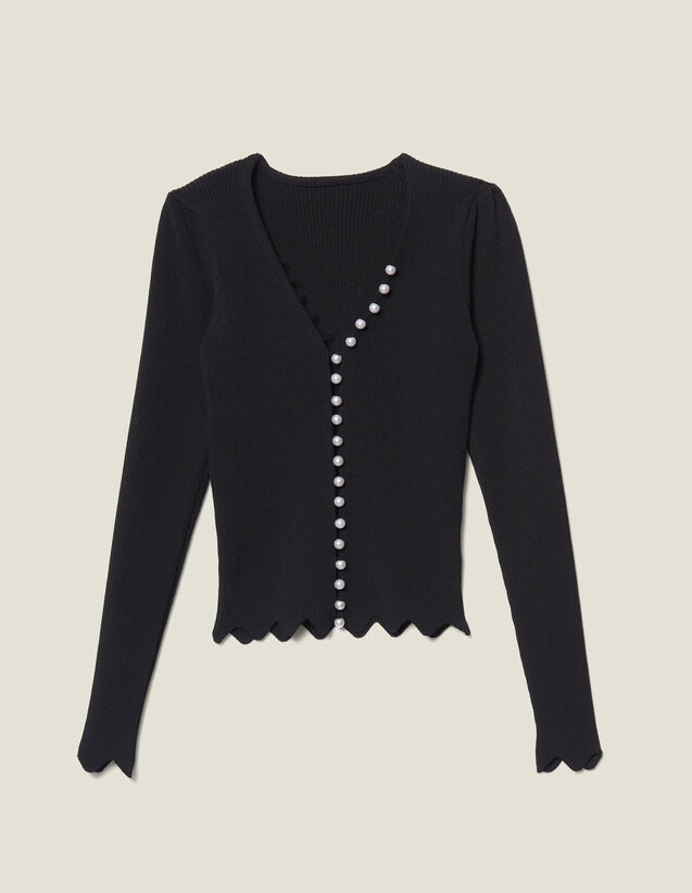 Cropped Cardigan Trimmed With Beads by Sandro Paris