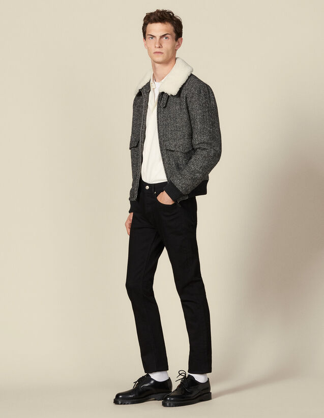 Wool aviator jacket : Blazers & Jackets color Grey