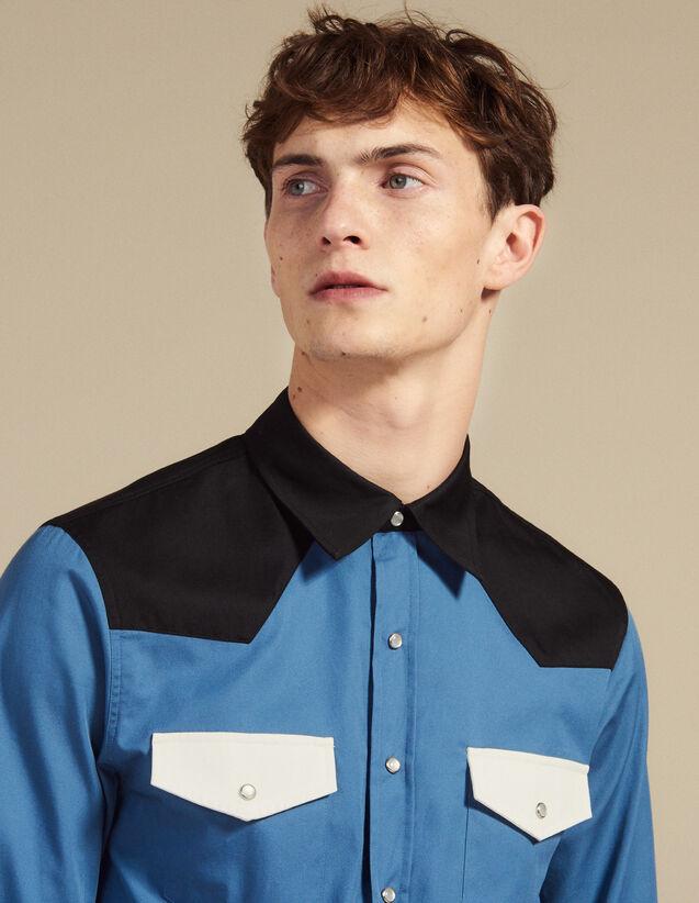 Colourblock Western-Style Shirt : Shirts color Blue