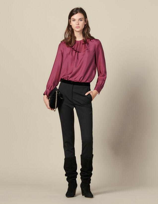 Straight-cut suit trousers : Pants color Black