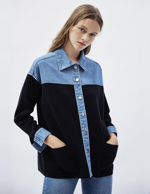 Dual Material Jacket Style Cardigan : Sweaters & Cardigans color Deep Navy
