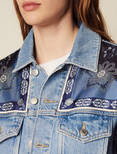 Denim Jacket With Printed Insets : LastChance-FR-FSelection color Blue Vintage - Denim
