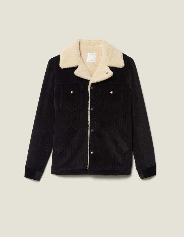 Velvet jacket sheepskin-effect lining : Blazers & Jackets color Black