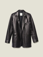 Leather Tailored Jacket : Blazers & Jackets color Black