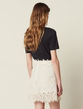 Short Lace Skirt : null color Nude