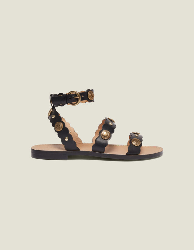 Flat Sandals With Decorative Rivets : null color Black