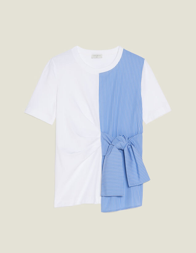 Dual Fabric T-Shirt With Tie Fastening : null color Ecru