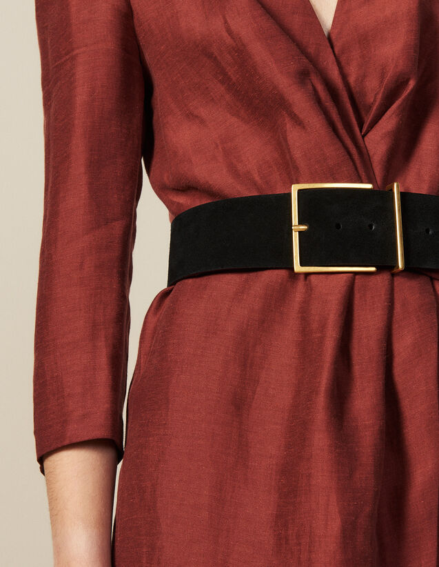 Wide Split Leather Belt : New In color Black