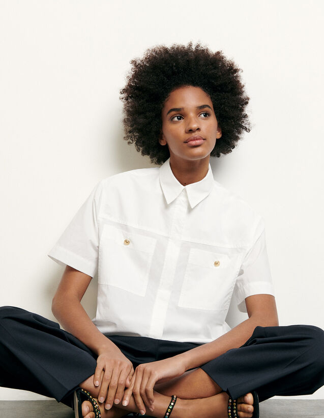 Cropped shirt with patch pockets : Tops & Shirts color Optical White