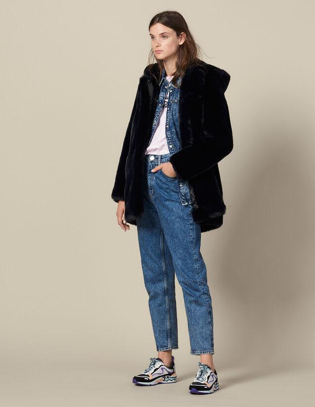 Long Faux Fur Coat : Coats color Navy Blue