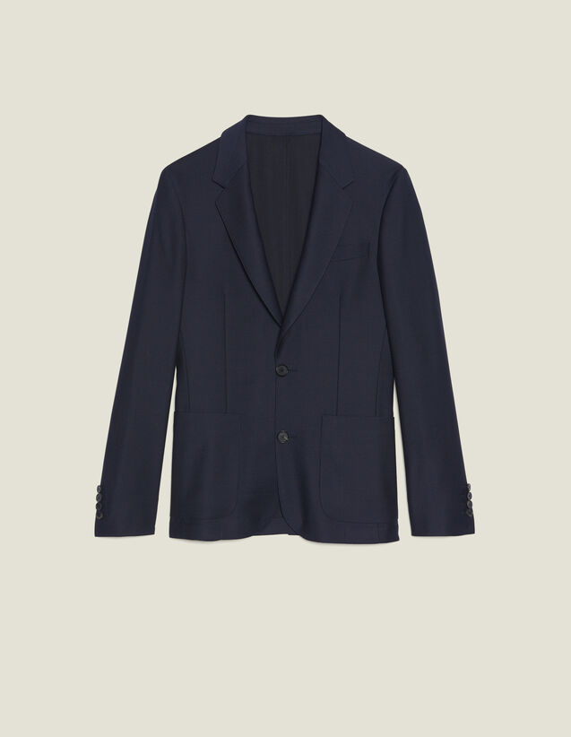 Basketweave Wool Suit Jacket : Suits & Tuxedos color Navy Blue