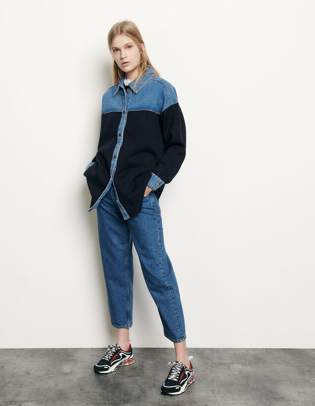 Dual material jacket style cardi-coat : Sweaters & Cardigans color Deep Navy