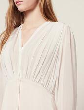 Long Asymmetric Dual Fabric Dress : null color Light pink