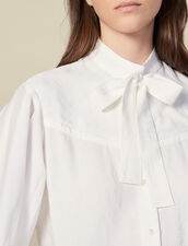 Jacquard blouse with pussy bow collar : LastChance-ES-F50 color Ecru