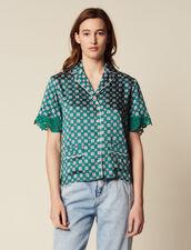 Printed Pyjama Shirt : null color Green