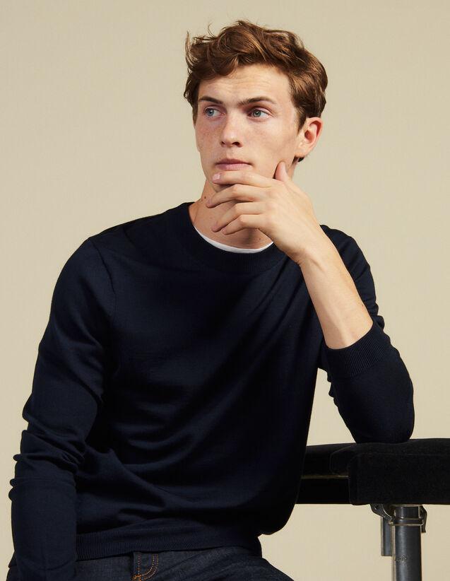 Fine knit wool sweater : Sweaters & Cardigans color Bordeaux
