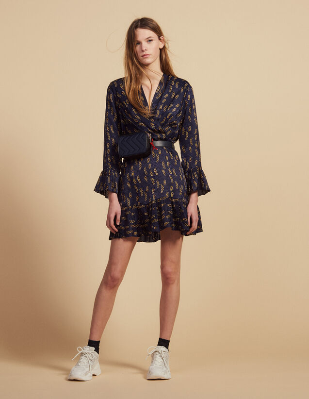 Short Printed Dress With Ruffles : Dresses color Blue