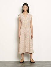 Long dress with stylish stripe pattern : Dresses color Pink / Yellow