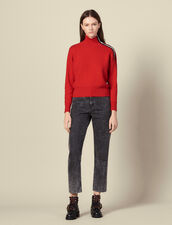 High neck sweater with press studs : LastChance-ES-F30 color Red