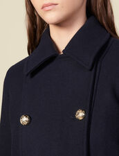 Double-Breasted Wool Peat Coat : LastChance-ES-F40 color Navy Blue