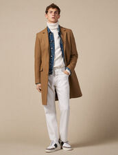 Long coat fastened with three buttons : Trench coats & Coats color Bordeaux