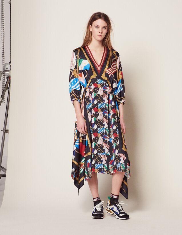 Long Printed Dress : null color Black