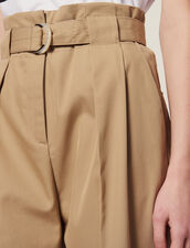 Belted High-Waisted Trousers : null color Beige