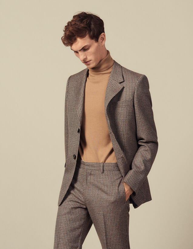 Houndstooth Suit Jacket : Suits & Tuxedos color Camel