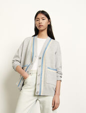 Oversized cardigan with crochet inserts : Sweaters & Cardigans color Grey