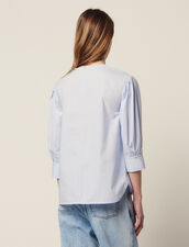 Long-Sleeved Poplin Top : null color Blue