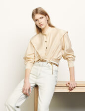 Short shirt with mandarin collar : Tops & Shirts color Beige