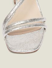 Low Heel Sandals In Metallic Leather : Summer Collection color Silver