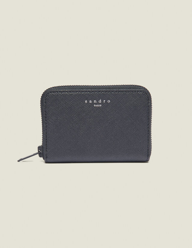 Saffiano Zipped Leather Card Holder : Summer Collection color Black