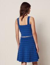 Short Flared Knit Skirt : null color Blue Jean