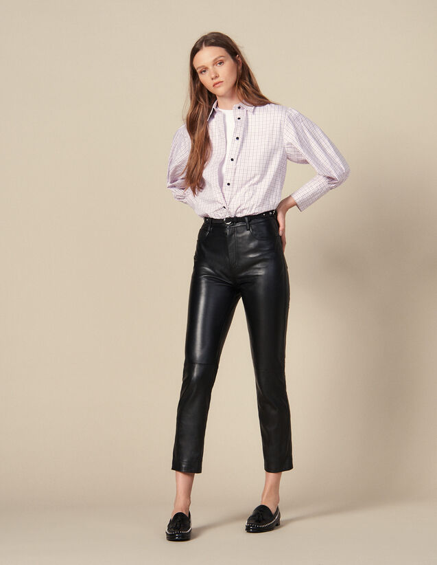 Straight leather trousers with seaming : LastChance-ES-F50 color Black