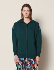 Dual Fabric Hoodie Cardigan : null color Green