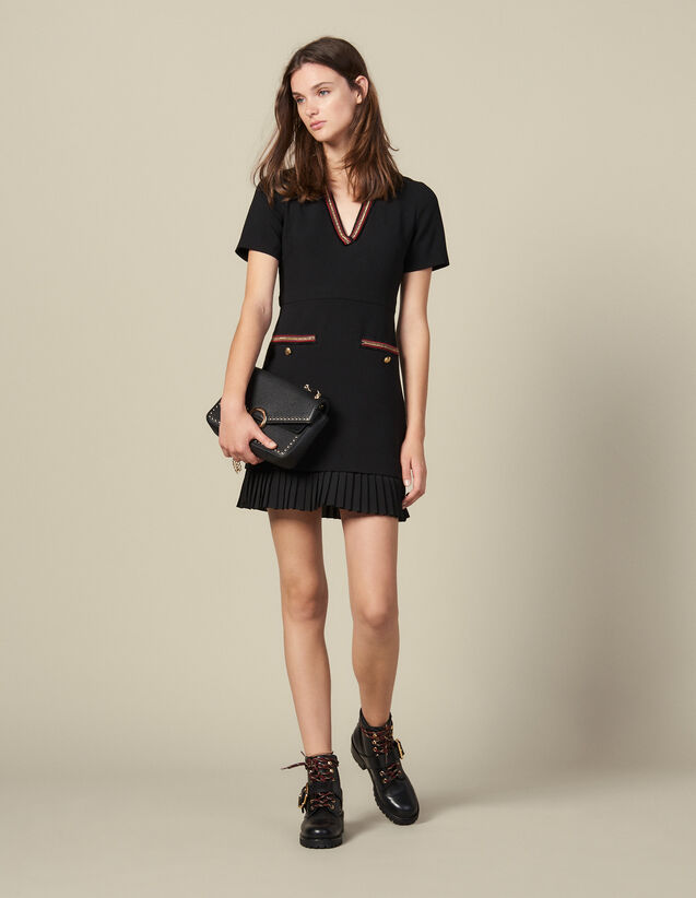 Short dress with decorative trim : Dresses color Black