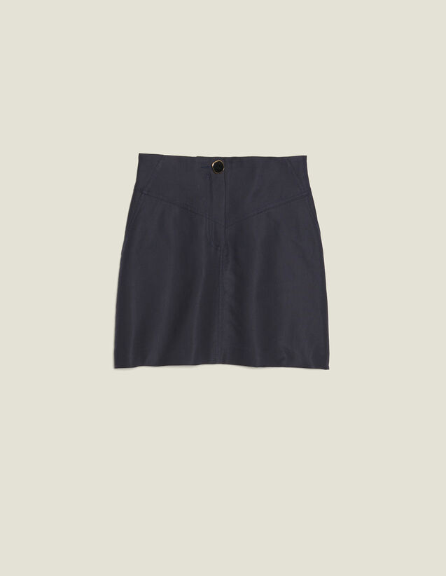 A-Line Skirt With Jewelled Button : null color Navy Blue