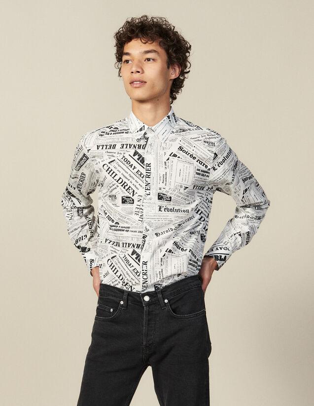 Newspaper Print Shirt : Shirts color White And Black