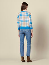 Hairy-effect checked jacquard sweater : Sweaters & Cardigans color Blue sky