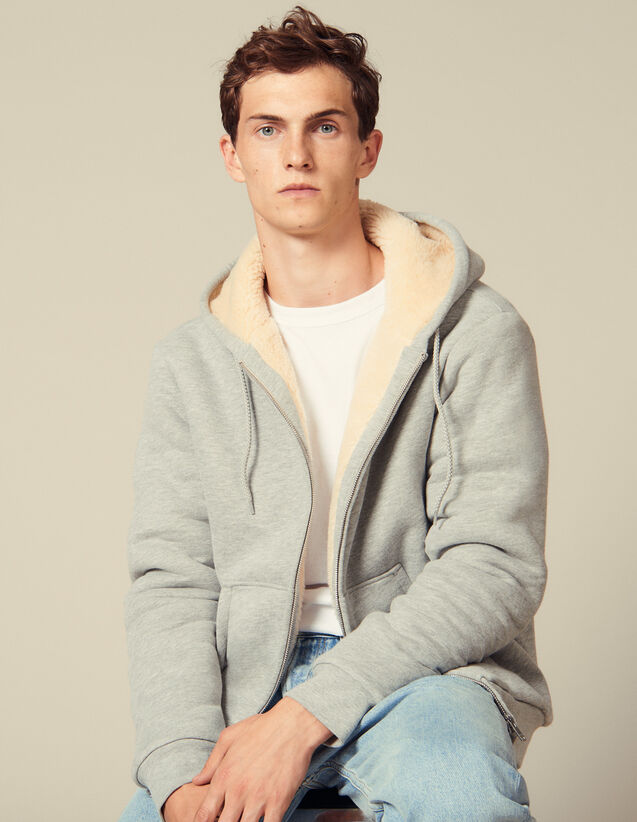 Zipped sherpa hoodie : Sweatshirts color Mocked Grey