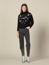 Sweater With Contrasting Leopard Spots : Copy of VP-FR-FSelection-Pulls&Cardigans color Black