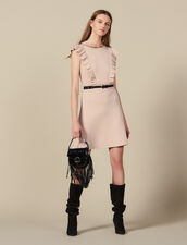 Rib-knit dress trimmed with beads : LastChance-ES-F50 color Nude