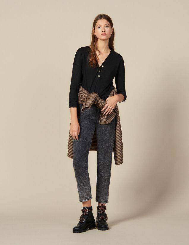 Long-Sleeved Linen T-Shirt : T-shirts color Black