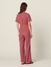 Printed Flowing Jumpsuit : null color Red